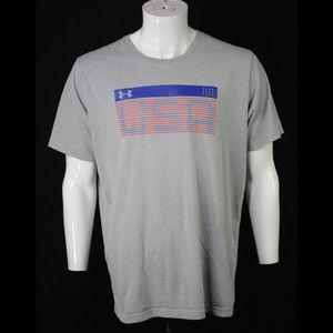 Heat Gear 2XL Loose T-Shirt American Flag Gray